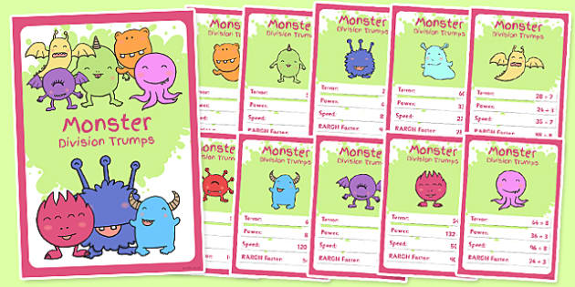 Monster Division Card Game - monster, division, top trumps, game