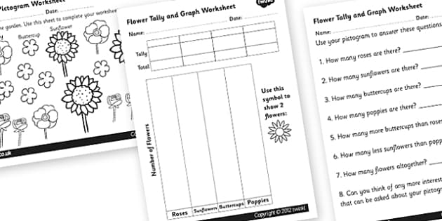 Flowers Tally and Pictogram Worksheets - pictogram, tally chart
