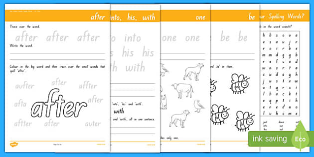 New Zealand Essential Spelling List Three Activity Sheet Pack, worksheet