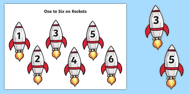 Rocket Numbers 1-6 - rocket, numbers, 1-6, display, activity, resource
