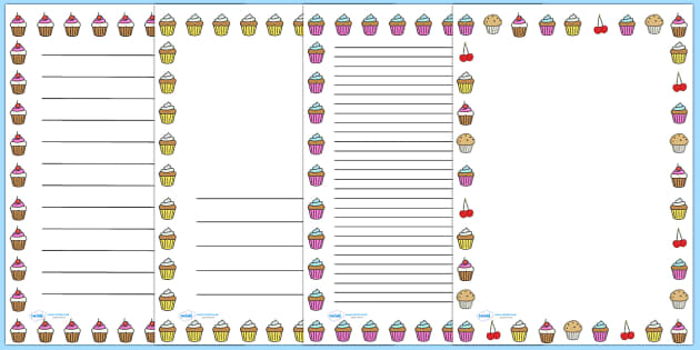 Cupcake Page Border - page border, writing borders, A4, border, cupcake, cake, baking, food, independent writing