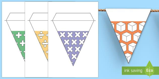de nombres temáticas - matemáticas Banderitas - banderitas, nombres, matemáticas,Spanish