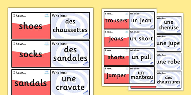 French Clothes Loop Cards - French, Clothes, Loop, Cards, France