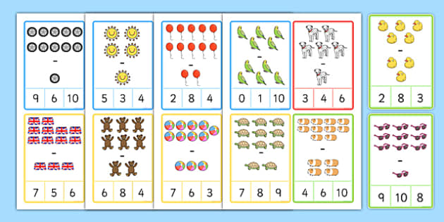Illustrated Peg Card Subtraction within 10 - illustrated, peg card, subtraction, within 10