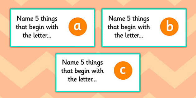 Name 5 Things Alphabet Challenge Cards - alphabet, challenge cards