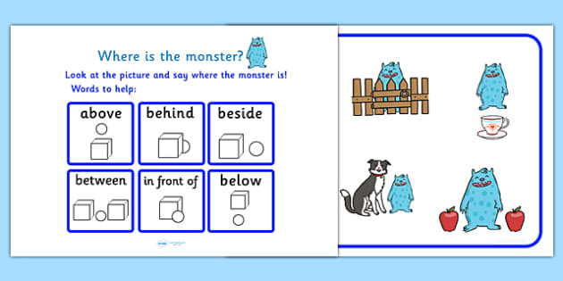 Where Is The Monster Preposition Game - monsters, games, puzzle, prepositions