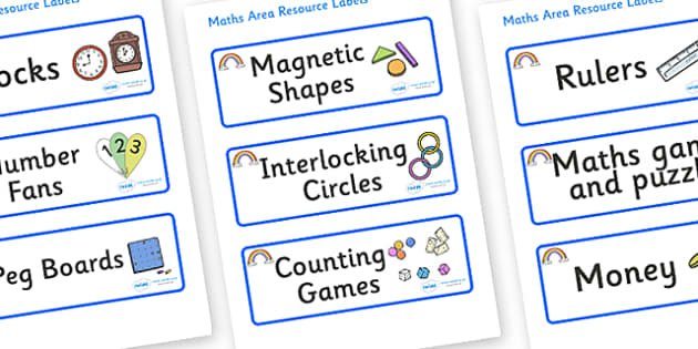 Rainbow Themed Editable Maths Area Resource Labels - Themed maths resource labels, maths area resources, Label template, Resource Label, Name Labels, Editable Labels, Drawer Labels, KS1 Labels, Foundation Labels, Foundation Stage Labels, Teaching Lab