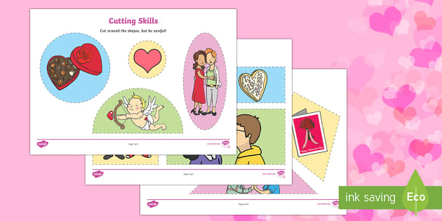 Valentine's Day Cutting Skills Activity Sheet - Valentine's Day,  Feb 14th, love, cupid, hearts, valentine,