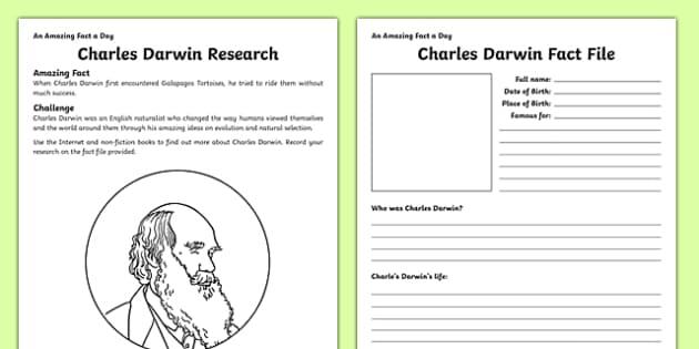 Charles Darwin Research Activity Sheet - amazing fact a day, activity sheet, activity, activities,, worksheet