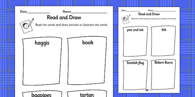 Burns Night Read and Draw Worksheet - burns night, read, draw