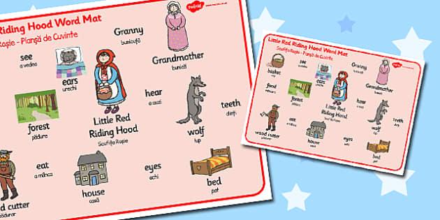 Little Red Riding Hood Word Mat Romanian Translation - romanian