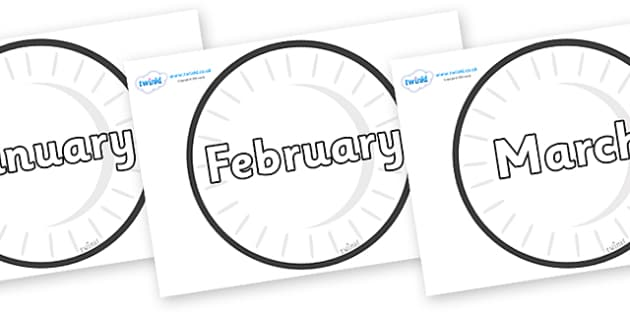 Months of the Year on Circles (Plain) - Months of the Year, Months poster, Months display, display, poster, frieze, Months, month, January, February, March, April, May, June, July, August, September