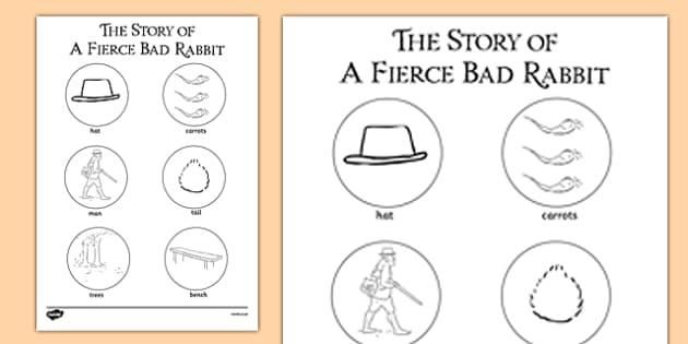 Beatrix Potter - The Story of a Fierce Bad Rabbit Words Colouring Sheet - beatrix potter, fierce, bad, rabbit