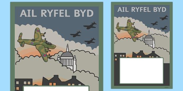 Clawr Ail Ryfel Byd Editable