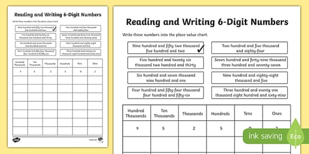 Place Value Reading and Writing 6-Digit Numbers Activity Sheet-Scottish, worksheet