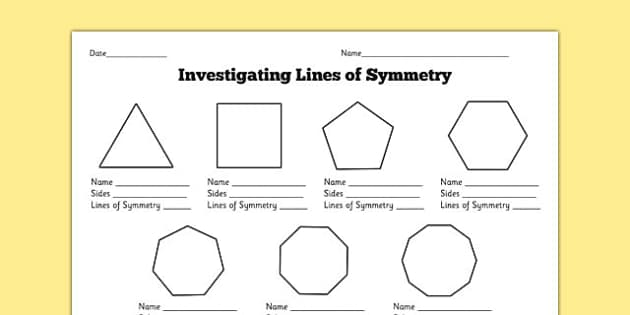 {Investigating Lines of Symmetry Activity Sheet symmetry – Lines of Symmetry Worksheet