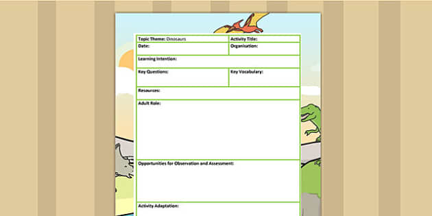 Dinosaur Themed Adult Led Focus Planning Template - dinosaurs