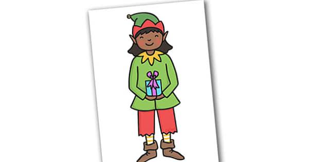 Christmas A4 Girl Elf Editable  - christmas, elves, santa, xmas