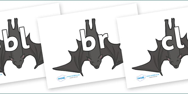 Initial Letter Blends on Bats - Initial Letters, initial letter, letter blend, letter blends, consonant, consonants, digraph, trigraph, literacy, alphabet, letters, foundation stage literacy