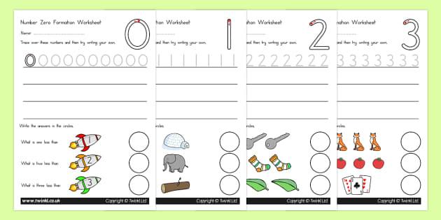 Number Formation Worksheets 0 9 Standard Version - number form