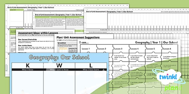 PlanIt - Geography Year 1 - Our School Unit Assessment Pack - planit, assessment, pack