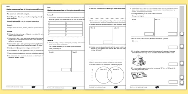 Year 6 Maths Assessment Multiplication and Division Term 1 – Multiplication Assessment Worksheet
