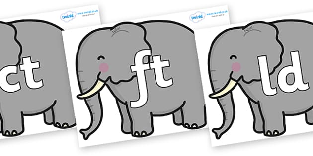 Final Letter Blends on Elephants - Final Letters, final letter, letter blend, letter blends, consonant, consonants, digraph, trigraph, literacy, alphabet, letters, foundation stage literacy
