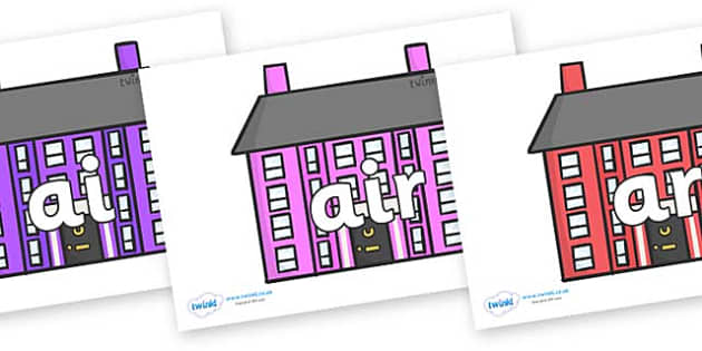 Phase 3 Phonemes on Houses - Phonemes, phoneme, Phase 3, Phase three, Foundation, Literacy, Letters and Sounds, DfES, display