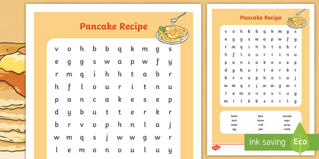 Pancake Recipe Wordsearch - pancake, recipe, word search, game