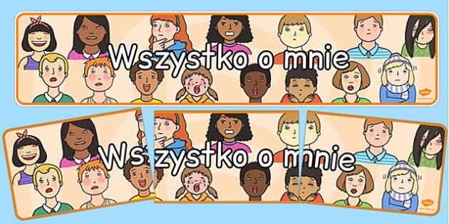 Banner na gazetkę scienną Wszystko o Mnie - do pobrania , Polish