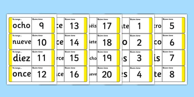 Spanish Numbers 1-20 Loop Cards - spanish, spanish number loop cards, spanish loop cards, spanish number activity, spanish numbers, language activities