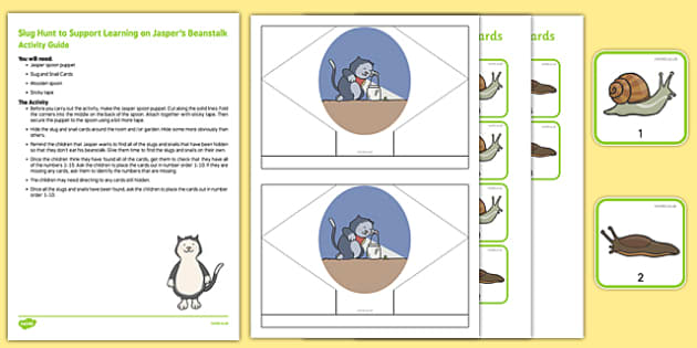Slug Hunt to Support Teaching on Jasper's Beanstalk Busy Bag Resource Pack for Parents - beans, growth, growing, plants, snail, bugs, minibeasts