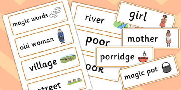 The Magic Porridge Pot Word Cards - magic, porridge, pot, little girl, lady, magic pot, cook, magic words,word card, flashcards, cards