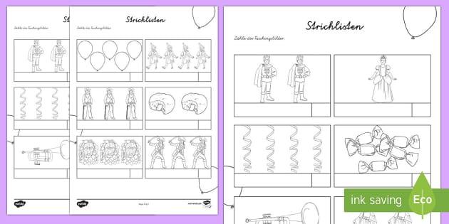 Fasching Strichlisten 1 bis 5 Arbeitsblatt: Erstes Zählen - Karneval, Fasching, Fastnacht, Arbeitsblatt, Mathematik, 1. Klasse, Strichlisten,German