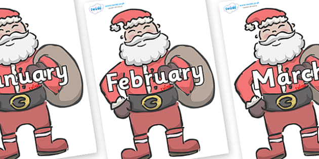 Months of the Year on Santas - Months of the Year, Months poster, Months display, display, poster, frieze, Months, month, January, February, March, April, May, June, July, August, September