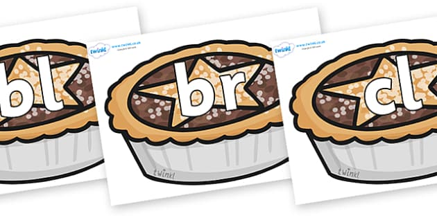 Initial Letter Blends on Mince Pies - Initial Letters, initial letter, letter blend, letter blends, consonant, consonants, digraph, trigraph, literacy, alphabet, letters, foundation stage literacy