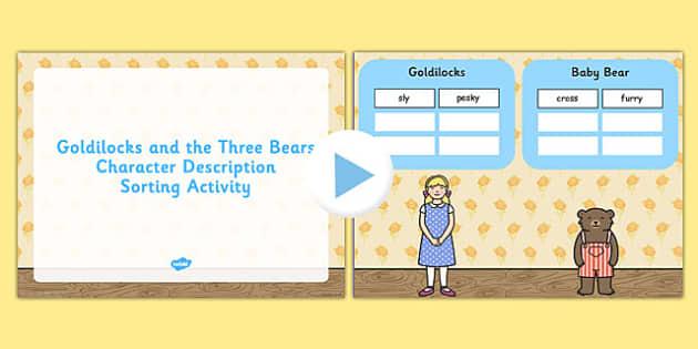 Goldilocks and the Three Bears Character Description Activity