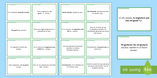 General Conversation My Studies Question Prompt Cards - Spanish Speaking Practice, prompt cards, questions, my studies, school