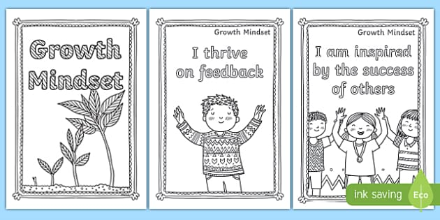 Growth Mindset Statements Mindfulness Colouring Pages