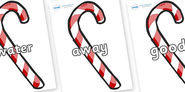 Next 200 Common Words on Candy Canes (Plain) - Next 200 Common Words on  - DfES Letters and Sounds, Letters and Sounds, Letters and sounds words, Common words, 200 common words