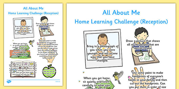 EYFS All About Me Home Learning Challenge Sheet Reception FS2