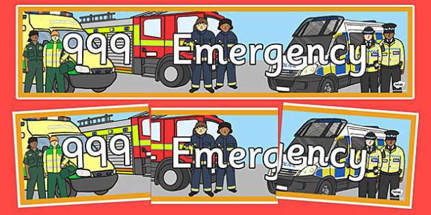 999 Emergency Themed Banner - 999, emergency, banner