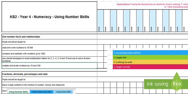 KS2 Year 4 Numeracy Assessment Tracker-Welsh - Year 4, Maths, Numeracy, LNF, lnf, Assessment, Assessment Tracker, LNF Assessment.,Welsh