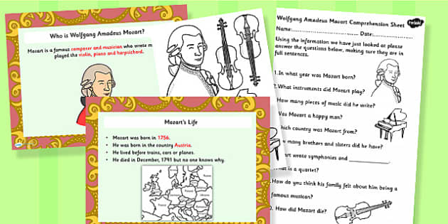 Wolfgang Amadeus Mozart Powerpoint and Activity Task Setter