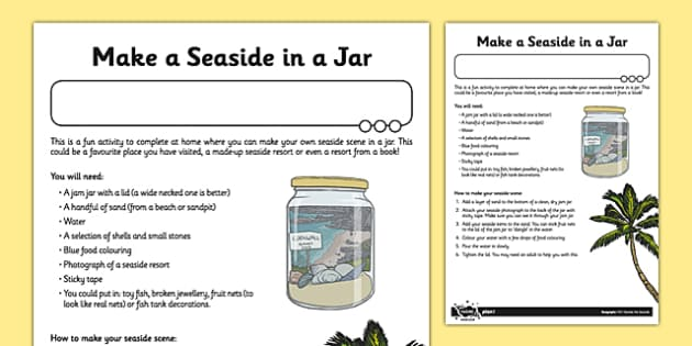 Make a Seaside in a Jar Activity Sheet, worksheet