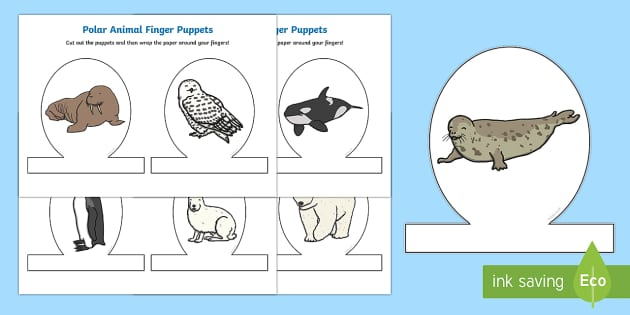Polar Animal Finger Puppets  - The Arctic, Polar Regions, north pole, south pole, explorers