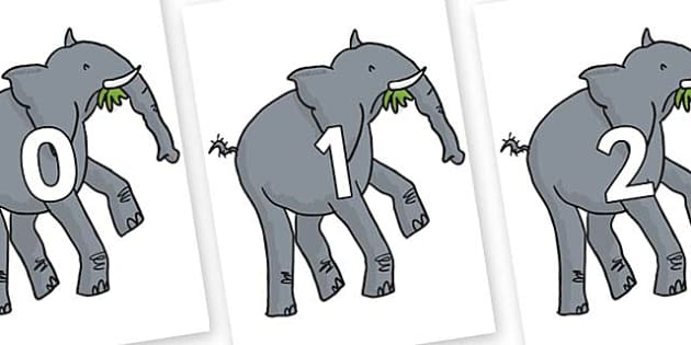 Numbers 0-100 on Trunky The Elephant to Support Teaching on The Enormous Crocodile - 0-100, foundation stage numeracy, Number recognition, Number flashcards, counting, number frieze, Display numbers, number posters