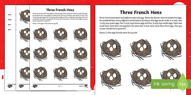 Three French Hens Activity Sheet
