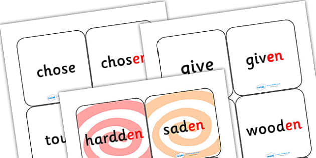 Suffix Matching Cards en - suffixes, suffix, suffix matching cards, prefixes and suffixes, suffix en, suffix game, suffix activity, words ending in en, ks2