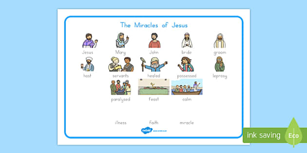 The Miracles of Jesus Bible Stories Word Mat - usa, america, mats, visual